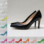 Classic Patent Pointed Toe High Heel Office Work Smart Pumps Court Shoes UK 2-9