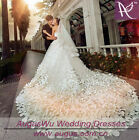 Long Train White Ivory Beaded Wedding Dresses Bridal Gown Size6 8 10 12 14 16 20