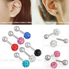 16G CZ Crystal Barbell Steel Ear Tragus Cartilage Helix Studs Earrings Piercing