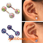 Pair 18g Flare Bar Barbell Helix Cartilage Tragus Ring Ear Stud Earlets Colorful