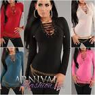 NEW SEXY WOMEN'S DESIGNER lace up TOP 6 8 10 LADIES PARTY SHIRT CLUBWEAR S M L
