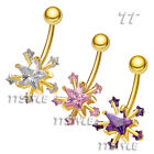 TT Gold-Tone CZ Snow Star Belly Bar Ring (BL201)
