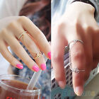 New Tasteful Thin Band Chain Dual Ring Peace Love Charm Crystal Double Ring B52U