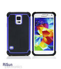 TPU Inner Tactile Anti-Slide Blue Skin Case& Screen Protector for Samsung S5