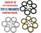 12 X Pvc Curtain Rings To Fit 16/19mm Metal Curtain Pole, Silver, A-Gold & Black