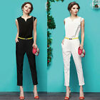 Black/White Women New Bodycon Sexy Rompers Workwear Jumper Jumpsuit Plus S~XL