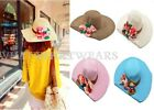 Womens Ladies Sun Hat Summer Beach Large Wide Flowers Brim Fashion Cap IDE