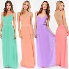 New Beadings Bridesmaid Wedding Party Prom long Evening Dress 4 Colors S/M/L/XL