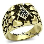 MENS'S ANTIQUE GOLD STAINLESS STEEL NUGGET STYLE MASONIC RING SIZE 8 - 13