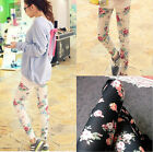 Fashion Womens Vintage Stretch Rose Flower Print Leggings Tights Pants IDE