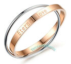 Korean Fashion Two-tone Hooked Eternal Love Engraved Rose Gold plated Bangle