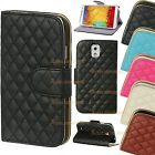 Leather Quilted Wallet Magnetic Flip Stand Case Cover Purse Various Mobile Phone