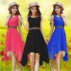 Fashion Womens Summer Beach Chiffon Peplum Sleeveless Party Dress Sundress Soild