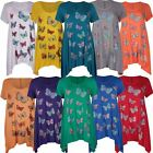 New Womens Butterfly Sequin Print Plus Size Hanky Hem Ladies Short Sleeve Tops