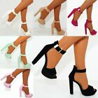 LADIES WOMENS STRAPPY PLATFORMS SANDALS GOLD BUCKLE ANKLE STRAP CUFF HIGH HEELS