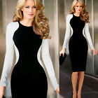 Black & White Classy OL Lady Long Sleeve Splicing Midi Evening Prom Dress Club ❤