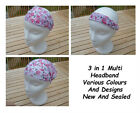Women's Girl's 3 In 1 Multi Head Band Scarf Wrap Bandanna Elastic Free Delivery