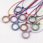 New Round Magnetic Crystal Glass Memory Floating Locket Necklace Pendant 9 Color