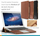 "MacBook 12"" Air 11"",13"" Pro 13"" PU Leather Cases w Heat Vents Design + Stand"