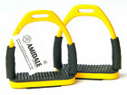 FLEXI SAFETY STIRRUPS HORSE RIDING BENDY IRONS S/STEEL YELLOW COLOR & Free GIFT.