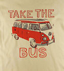 V W Camper 'Take The Bus' Classic Retro Cult Surf Natural T-Shirt