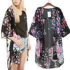 Butterfly Floral Print Long Oversize Loose Chiffon Kimono Cardigan Cape Poncho