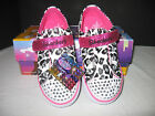 """$50 GIRLS TODDLER SKECHERS LIL WILD """"TWINKLE TOES"""" LIGHT UP CHEETAH  SHOES 5-10"""