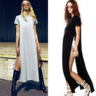 Fashion Celeb Style Sexy Open Side Cut Out Long Maxi T Shirt Prom Party Dress