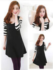 Hot Popular Comfortable Korean striped strapless long-sleeved dress stitching
