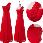 One Shoulder Red Chiffon Long Wedding Party Prom Ball Gown Evening Bridal Dress