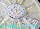 #ER22 3 Sizes Resin Nail Art Deco White Multicolor illusion Glitter Rhinestone
