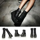 Fashion Women's Lace UP Platform Wedge High Heel Round Toe Cowboy Ankle Boots Sz