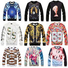 Hip Hop Fashion Personality 3D Print Hoodie Men funny slim Casual Sweater Coat