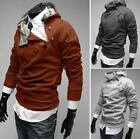 New Men Slim Fit Casual Collar Zipper Hooded Sweatshirt Thick Brown Sexy Jackets