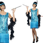 Ladies Blue Flapper Fancy Dress Costume – 1920s / 20s / Twenties Gangster Outfit