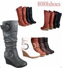 Women's Lace Low Wedge Mid-Calf Knee High Slouchy Boot Shoes Size 5 - 10 NEW