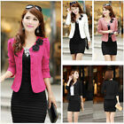 Women Double-Breasted Suit Flower Blazer Puff Sleeve Jacket Bow Tie Cropped Coat