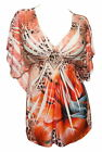Plus Size Low Cut V-Neck Slimming Floral Sublimation Print Top Orange