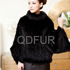 Women Genuine Knitted Mink Fur Poncho Winter Warm Pullover Coats Lady Garment