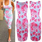 Neon Pink Floral Dress Midi Casual Summer Beach Sleeveless Plus Size Womens Maxi