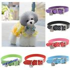 Pet's Adjustable PU Leather Collar Dog's Heart Crystal Buckle Collar Neck Strap