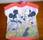 GIRLS MINNIE &MICKEY MOUSE SHORT SLEEVED T-SHIRT-CORAL 8-9,9-10,10-11YRS NEW
