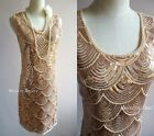 Great Gatsby Art Deco Gold Sequins Vintage Jazzy Mermaid Beads Flapper Dress - M