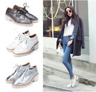 Women's Retro Hollow Lace Up Round Toe Chunky Mid Heel Vogue Casual Shoes 3Color