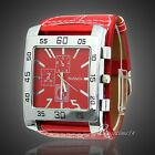 New Fashion Men Women Leather Band Square Dial Quartz Watches Wrist Watch