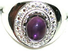 Men's African Amethyst & White Topaz Sterling Silver Ring       R8 New Style