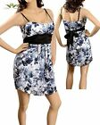 WOMENS DRESS Jrs  watercolor floral print Chiffon baby dollblack white S M L