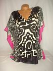 LYS Love Your Style Blouse Shirt Short Sleeve Black Pink Geometric Sexy Top