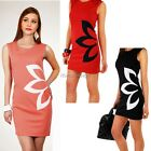 2014 Ladys Sweet Flower Printed Sleeveless Round Neck Above Knee Dresses Red