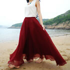 Fashion Summer Elastic High Waist Pleated Ruffle Maxi Long Women's Chiffon Skirt